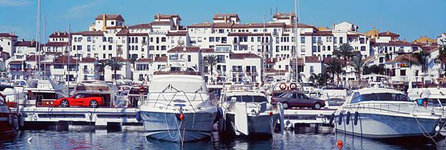 Yachts moored at a harbor, Puerto Banus, Andalusia, Spain