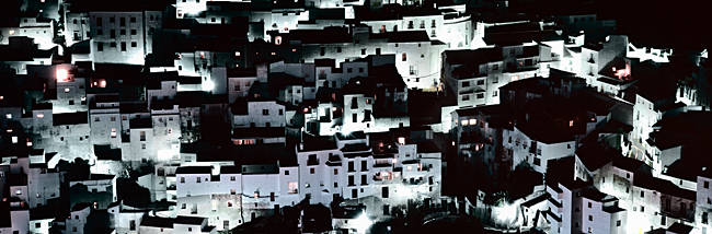 High angle view of a village, Casares, Malaga, Andalusia, Spain
