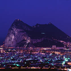High angle view of a city lit up at night, Rock Of Gibraltar, Andalusia, Spain