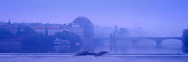 Arch bridge across a river, National Theatre, Legii Bridge, Vltava River, Prague, Czech Republic