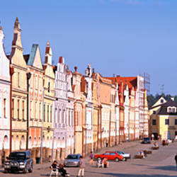 Buildings along a street, Telc, South Moravia, Bohemia, Czech Republic
