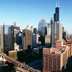 High angle view of buildings in a city, Chicago, Cook County, Illinois, USA