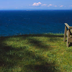 Adirondack chair near the sea, Strait of Juan de Fuca, Whidbey Island, Island County, Washington State, USA
