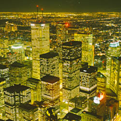 High angle view of a city lit up at night, View from CN Tower, Toronto, Ontario, Canada