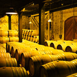 Barrels in a cellar, Mt Veeder, Napa Valley, Napa County, California, USA