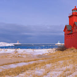 Lighthouse at the lakeside, Big Red Lighthouse, Lake Michigan, Holland, Michigan, USA