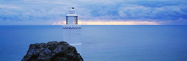Lighthouse at the seaside, Start Point Lighthouse, Devon, England