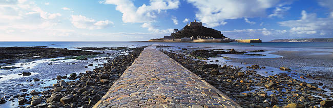 Causeway on the beach, St. Michael's Mount, Marazion, Cornwall, England