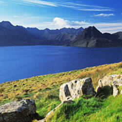 Rocks on the hillside, Elgol, Loch Scavaig, view of Cuillins Hills, Isle Of Skye, Scotland