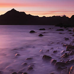Rocks on the beach, Elgol Beach, Elgol, looking towards Cuillin Hills, Isle Of Skye, Scotland