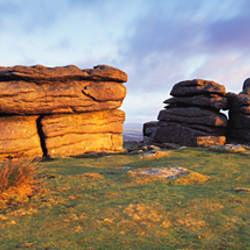 Rocks on a landscape, Combestone Tor, Dartmoor, Devon, England