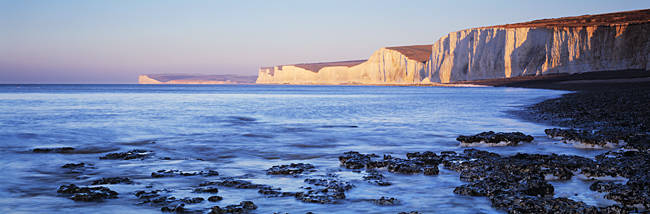 Chalk cliffs at seaside, Seven sisters, Birling Gap, East Sussex, England
