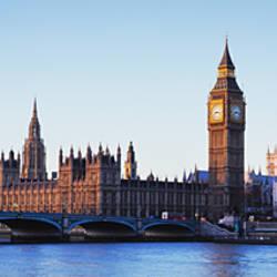 Bridge across a river, Big Ben, Houses of Parliament, Thames River, Westminster Bridge, London, England