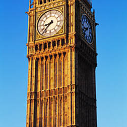 Low angle view of a clock tower, Big Ben, Houses of Parliament, London, England
