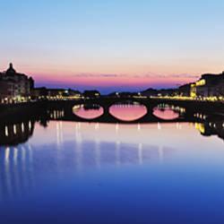 Bridge across a river, Arno River, Ponte Vecchio, Florence, Italy