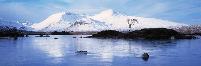 Reflection of mountains in water, Black Mount, Lochan Na h'Achlaise, Rannoch Moor, Highlands Region, Scotland