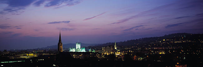 Buildings lit up at night, Bath, Somerset, England