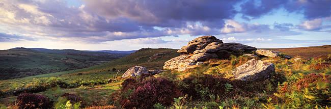 Clouds over a landscape, Haytor Rocks, Dartmoor, Devon, England