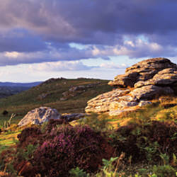 Clouds over a landscape, Haytor Rocks, Dartmoor, Devon, England