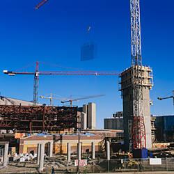 Buildings under construction at a construction site, Edmonton, Alberta