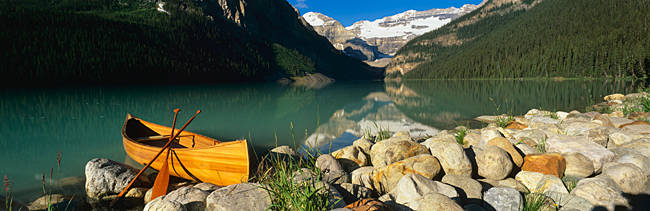 Canoe at the lakeside, Lake Louise, Banff National Park, Alberta, Canada
