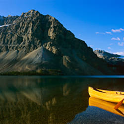 Canoe at the lakeside, Bow Lake, Banff National Park, Alberta, Canada