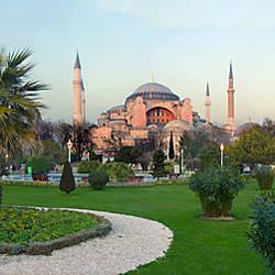 Formal garden in front of a church, Aya Sofya, Istanbul, Turkey