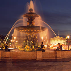 Fountain lit up at night, Place De La Concorde, Paris, Ile-De-France, France