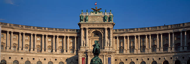 Equestrian statue in front of a palace, The Hofburg Complex, Heldenplatz, Vienna, Austria