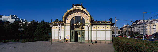 Entrance of a railroad station, Karlsplatz, Vienna, Austria