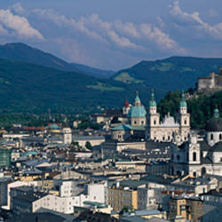 High angle view of a castle on top of a mountain, Hohensalzburg Fortress, Salzach River, Salzburg, Austria