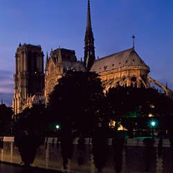 Cathedral at the waterfront, Notre Dame, Seine River, Paris, Ile-De-France, France