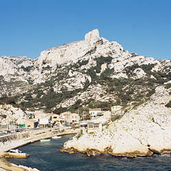 Village at the hillside, creek of Callelongue, Bouches-du-Rhone, Marseille, Provence-Alpes-Cote d'Azur, France