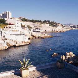 Buildings at the waterfront, Maldorme, Bouches-du-Rhone, Marseille, Provence-Alpes-Cote d'Azur, France