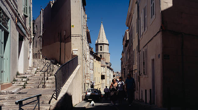 Buildings along a street, Le Pannier, Les Accoules Church, Bouches-du-Rhone, Marseille, Provence-Alpes-Cote d'Azur, France