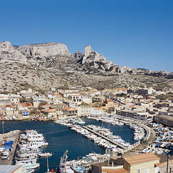High angle view of a village and a harbor, Les Goudes, Bouches-du-Rhone, Marseille, Provence-Alpes-Cote d'Azur, France