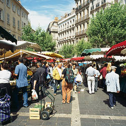Group of people in a street market, Place De Noailles, Bouches-du-Rhone, Provence-Alpes-Cote d'Azur, France