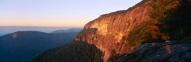 Sunlight on the mountains, Whiteside Mountain, Jackson County, Nantahala National Forest, North Carolina, USA