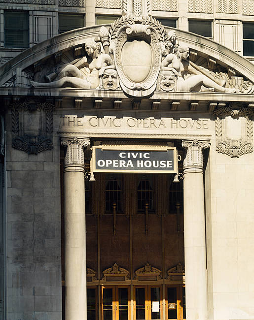 Entrance of an opera house, Civic Opera House, Chicago, Cook County, Illinois, USA