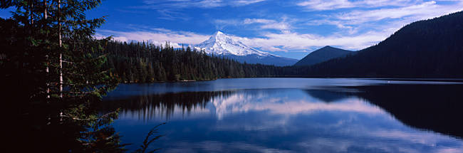 Reflection of clouds in water, Mt Hood, Lost Lake, Mt. Hood National Forest, Hood River County, Oregon, USA