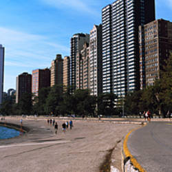 Skyscrapers at the waterfront, Oak Street Beach and Lakefront Bike Path, Gold Coast, Chicago, Cook County, Illinois, USA