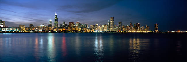 City at the waterfront, Chicago, Cook County, Illinois, USA