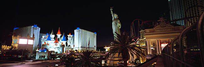 Statue in front of a hotel, New York New York Hotel, Excalibur Hotel And Casino, The Las Vegas Strip, Las Vegas, Nevada, USA