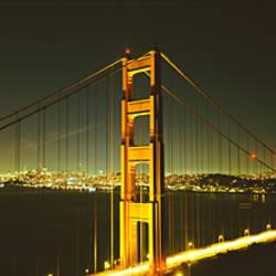 Suspension bridge across the sea, Golden Gate Bridge, San Francisco, California, USA