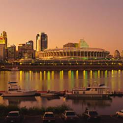 Buildings in a city lit up at dusk, Cincinnati, Ohio, USA
