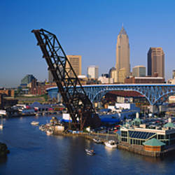 High angle view of boats in a river, Cleveland, Ohio, USA