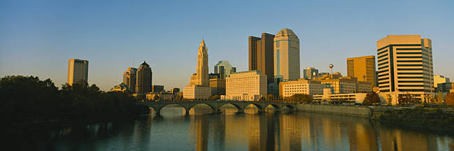 High angle view of buildings at the waterfront, Columbus, Ohio, USA