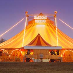 Circus lit up at dusk, Circus Narodni Tent, Prague, Czech Republic