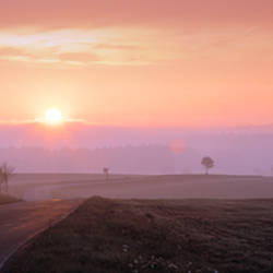 Sunrise over a landscape, South Bohemia, Czech Republic