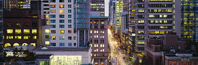 Buildings in a city, Hornby Street, Vancouver, British Columbia, Canada